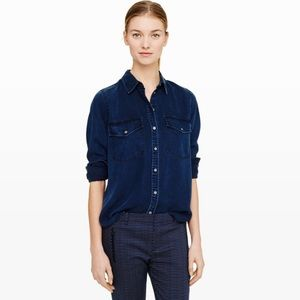 Club Monaco Dark blue chambray button down XS